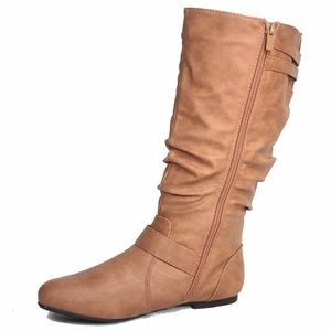 Women's Slouched Knee High Low Flat Heel Boots